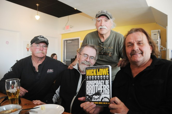 Author Mick Lowe with former outlaw bikers and Port Hope Eight members Rick Sauve, Merv Blaker and Gary Comeau. Photo credit: Gino Donato