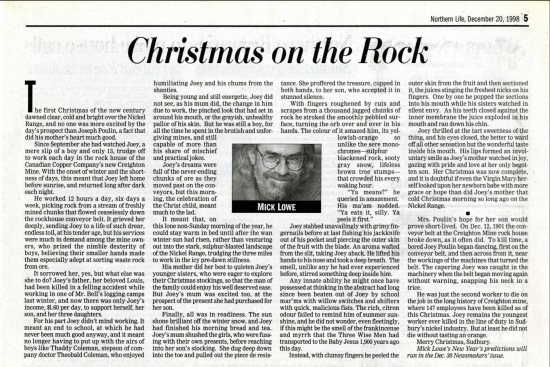 """Christmas on the Rock"" Northern Life, December 20, 1998"